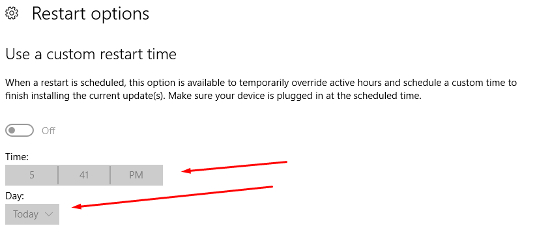 windows 10 update schedule a time greyed out